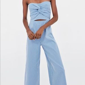 Zara Seersucker Culottes Jumpsuit